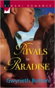 A black man with a scark around his neck leans in to kiss toward the neck of a black woman in swimwear, her head thrown back.
