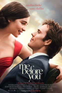 Me Before You movie poster. A brunette white woman in a fancy red dress leans into a brown haired white man wearing a navy blue suit and sitting in a black wheelchair.