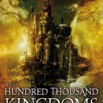 Title: The Hundred Thousand Kingdoms, book one of the Inheritance trilogy. Author: N. K. Jemisin. A castle city stands on a pillar among the clouds and is interposed with a woman's face. Her hair is standing up.