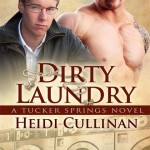 Book Cover for Dirty Laundry by Heidi Cullinan. Bottom half is a sepia-tone photo of washing machines in a laundromat. Top half is a color photo of a blond white man wearing glasses, a white collared shirt and an unzipped grey jacket, and a muscular white man wearing a straw cowboy hat and no shirt.
