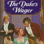 Book cover for The Duke's Wager by Edith Layton. A white woman wearing a green, empire waisted regency dress sits in a chair talking to a white gentleman wearing tan breeches and a red jacket. Another white gentleman in regency dress watches them from the background.
