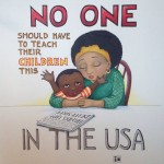 """an illustration of an African-American mother and child, in Engelbreit's signature orbicular style, contemplating a newspaper that reads """"Hands Up! Don't Shoot."""" Floating text reads, """"No One Should Have to Teach Their Children This In The USA."""""""