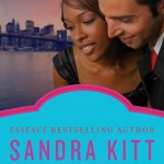 Book cover for the Color of Love by Sandra Kitt. A black woman and a white man hug with the New York skyline behind them.