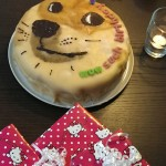 """A birthday cake with the """"doge"""" dog on it and the words """"WOW SUCH BIRTHDAY"""""""