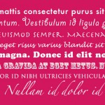 Eight lines of lorem ipsum in white text on a bright pink background. Each line is a different font and weight.