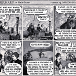 A Wondermark comic. A woman and a man are talking. The woman mentions that she dislikes sea lions. A sea lion then shows up to insist she debate with him and explain her position.