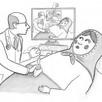 A pencil drawing of a bald, white male doctor doing ana ultrasound on a kerchief-wearing Russian nesting doll. The monitor shows a smaller version of the doctor and doll and the monitor in that shows an even smaller version and so on.