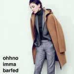 An image of a white woman in grey trousers, a black turtleneck and a grey blazer wears a camel coat on her shoulders like a cape. Her brown hair is slightly messy and she looks at the ground kind of glassy eyed. text reads: ohhno imma barfed onna shoos