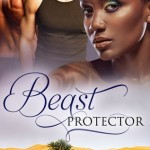 On the top half of the cover, there's a gorgeous black woman with tribal tattoo on her shoulder at front and two white male torsos at the back. A sand desert oasis is on the bottom half of the cover.