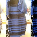 A striped bodycon dress that, depending on the viewer, appears as blue with black lace fringe or white with gold lace fringe