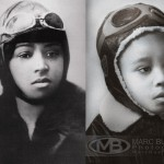 A black and white photo with aviator Bessie Coleman's portrait on the left and a five year old black girl on the right dressed in an aviator helmet with goggles on top and a leather aviator jacket and posed like coleman.